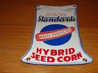 """VINTAGE STANDARD'S HYBRID SEED CORN """"BAG"""" PORCELAIN METAL FEED GASOLINE OIL SIGN"""