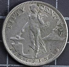 1944 FILIPINAS/PHILIPPINES 50 CENTAVOS SILVER COIN * UNITED STATES OF AMERICA