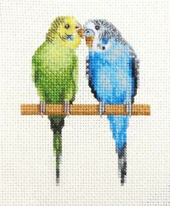 2 BUDGERIGARS, BUDGIE, Aviary Bird, Full cross stitch kit, all materials *Fido