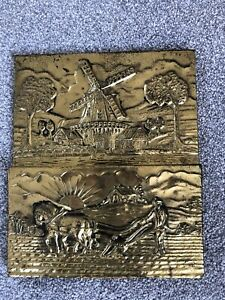 VINTAGE BRASS Wall LETTER RACK HOLDER WITH Windmill & plough FARMING COUNTRY