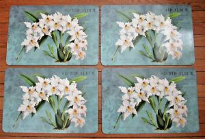 "4 VTG Cork Backed Placemats Princess of Wales Odontoglossum Orchids 17""X11"""