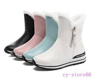 Womens Fur Trim Zipper Flat Heel Ankle Boot Winter Shoes Girls Comfort Plus Size