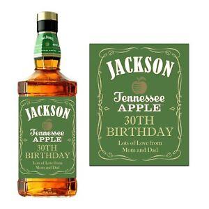 PERSONALISED JACK DANIELS APPLE GREEN WHISKEY BOTTLE LABEL BIRTHDAY BOURBON JD
