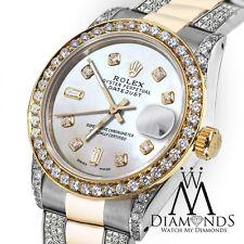 Diamante Mujer Rolex Datejust 26mm 2 COLORES 18ct Acero Oro Reloj Con Blanco