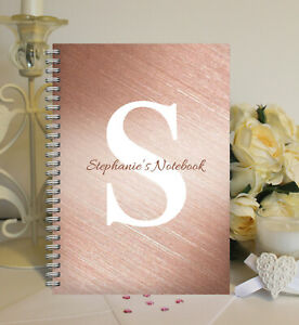 Personalised A5 Softbacked Notebook, wire bound, Monogram themed