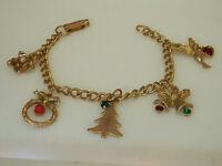 XXX Cute Vintage 1950s Holiday Rhinestone Charm Bracelet Bells Bird Heart  644M4