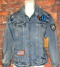 MENS RING OF FIRE MULTIPLE PATCHES BLUE DENIM JEAN JACKET SIZE S