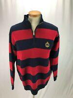 Ralph Lauren Women's Red and Blue Cotton Sweater L