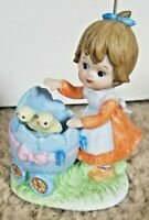 Vintage Porcelain Lefton Figurine Girl With Egg Baby Buggy Chicks Hand Painted