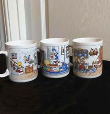 3 Suzy Spafford Zoo Mugs Fri Night Charades Sat Afternoon Play Sun Supper Cups