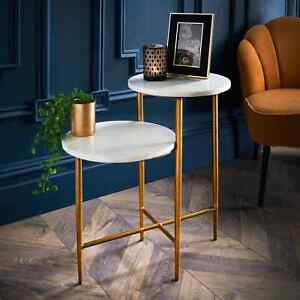 2 Tier Side Table Modern Side Coffee table With Gold Legs & Solid Marble Top
