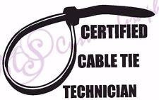 Técnico certificado Cable Tie Gracioso Pegatina de vinilo coche 11 Colores amarra