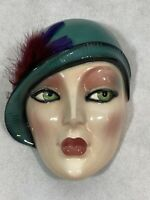 Vintage Clay Art Ceramic Face Flapper Lady Wall Art Hanging Art Deco