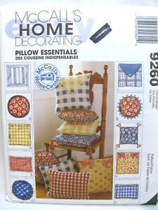 McCalls 9260 Home Decorating Pillows All Shapes and Sizes Sewing Pattern Uncut