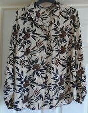 Ladies - Autograph by M&S - Smart Longer Length Beige/Brown Patterned Shirt - 14