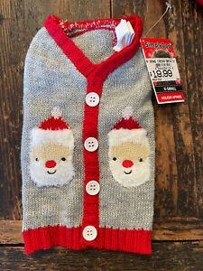 NWT SimplyDog Christmas Cardigan Knit Sweater Santa Claus Pockets Fuzzy XS