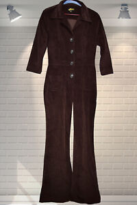 FABULOUS Authentic Flared ROCK THE JUMPSUIT Brown Corduroy All In One - Size 14