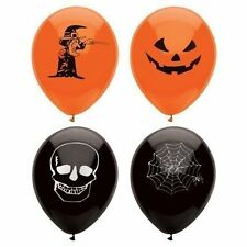 15 HALLOWEEN BALLOONS BLACK ORANGE PRINTED HORROR COBWEB FANCY DRESS PARTY DECOR