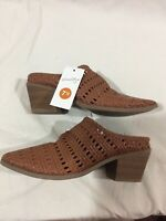 Universal Thread Women's Shoes Cognac Kallie Woven Heeled Mules - Size 7.5 - NWT