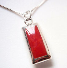 Red Coral and Mother of Pearl 925 Sterling Silver Bar Shape Pendant