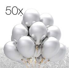 50x Luftballons Ballons Luftballon Luft, Helium silber Hochzeit Deko Dekoration