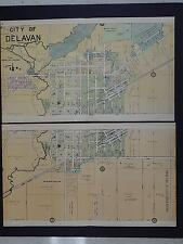 Wisconsin Map 1907 City of Delavan Map 2 parts Double Pages K20#15