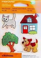 Cat Dog Tree and House My Life Clear Acrylic Stamp Set by Fiskars NEW!