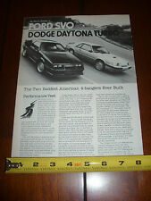 1984 FORD MUSTANG SVO vs. 1984 DODGE DAYTONA - ORIGINAL ARTICLE