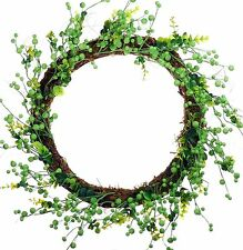 """20"""" Berry Leaves Wreath Green Easter Spring Fall Holiday Door Wall Decor 957u"""
