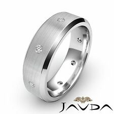 Round Cut Diamond Mens Eternity Ring Wedding Brushed Center Platinum Band 0.16Ct