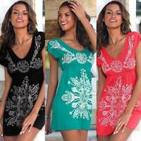 Summer Women Sexy Deep V neck Short Sleeve Casual Party Beach Short Mini dress