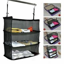 3 Layers Portable Travel Storage Bag Wardrobe Clothes Shoes Storage Rack Holder
