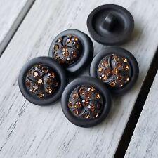Vtg LOT Set 4 +1 HI-DOMED Black EARLY PLASTIC Shank Buttons ORANGE RHINESTONES