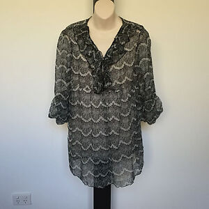 'OLLA OH' BNWT SIZE 'S'  GREY, BLACK & WHITE PRINT 3/4 SLEEVE RUFFLE FRONT TOP