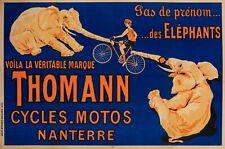Affiche Originale - Cycles Motos Thomann - Elephant - Vélo - Bicyclette - 1926