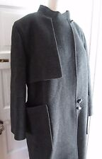 Harve Bernard Mod Cape Top Toggle Closure Long Maxi Wool Dress Pea Coat Womens L