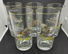 """Vintage Set of 5 Ned Smith Game Birds Highball Glasses 5.5"""" Gold Rim ~ Beautiful"""