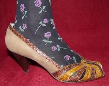 70er 80er Vintage LEDER Peeptoe Pumps High Heels 40 Schuhe 70s 80s VTG SHOES UK7