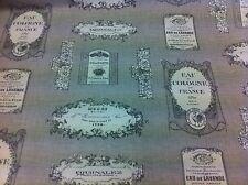 + Nuovo + fryett'S ~ vintage ~ ETICHETTA VINO / PROFUMO spessa tessuto di cotone Cortina / TAPPEZZERIA