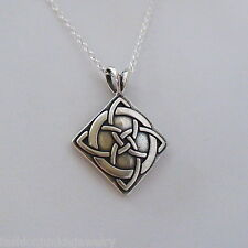 Celtic Knot Necklace - 925 Sterling Silver - Irish Love Pendant Gift Luck NEW