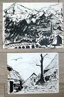 Pyrenees 2 Dessins Encre De Chine Montagne Eglise 1958 Montagne Pays Basque Art