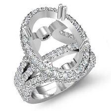 Diamond Vintage Engagement Ring Halo Setting 18k White Gold Oval Semi Mount 2.15