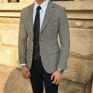 Men Houndstooth Suit Formal Blazer Vintage Wool Blend Tuxedos Wedding Prom