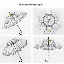 Transparent Umbrella Long-handle Bird In The Cage For Sunny And Rainy Days GA