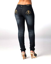 NWT DEREON NAUGHTY SKINNY Fleur Rock Gold JEANS PLUS SIZE sexy! 14