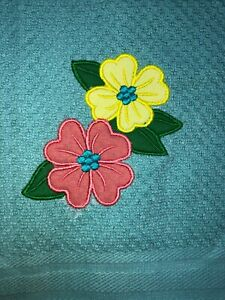 Embroidered Appliqued Teal Kitchen Hand Towel Spring Time  Flowers BS2383