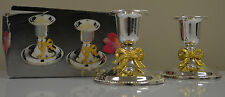 Silver Plated Metal Candle Holders With Golden Bow For Tapered Candles #WWW