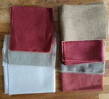 Lot of 7 Linen Cross Stitch, Embroidery Fabric Various counts, colors & sizes
