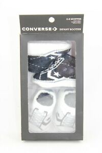"""NEW"" 2 Pair Converse All Star 0-6 Months Baby Booties Infant Black White Gray"