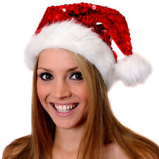 RED SEQUIN SANTA HAT FATHER CHRISTMAS FANCY DRESS COSTUME ACCESSORY XMAS PARTY